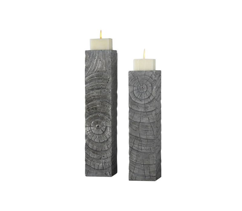 Odion Silver Wood Log Candleholder S/2