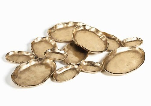 Cluster of Twelve Oval Serving Bowls -dk gold