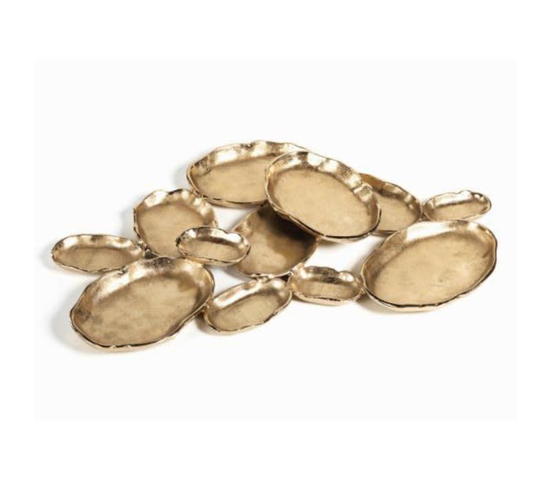 Cluster of Twelve Oval Serving Bowls -dk gold