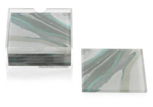 Aqua Lagoon Agate Coaster-Set of 6