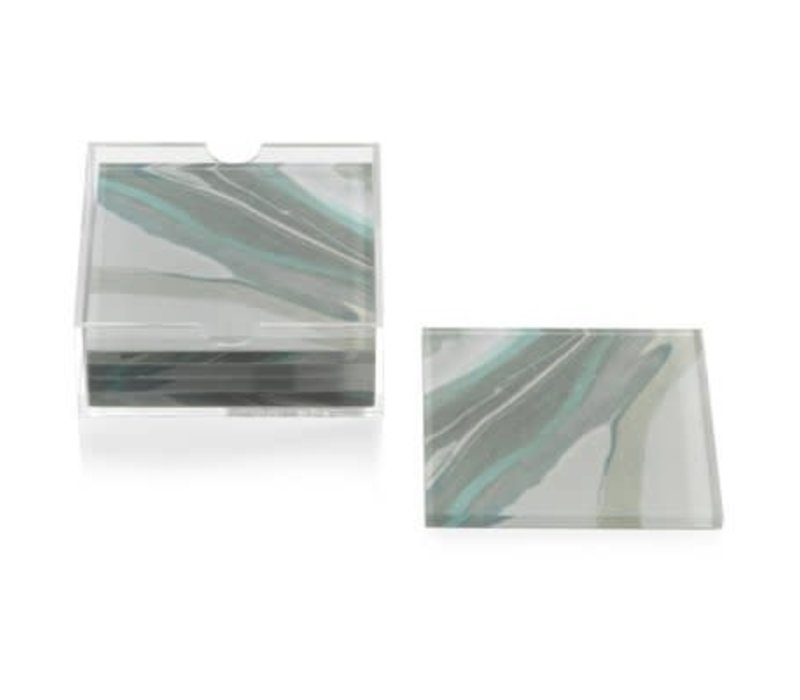 Aqua Lagoon Agate Coaster-Set of 6
