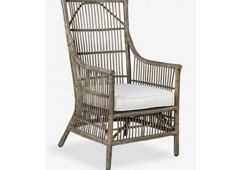 Jeffan International Winston Rattan Chair - Gray