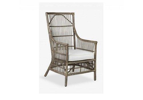 Jeffan International Winston Rattan Chair - Gray
