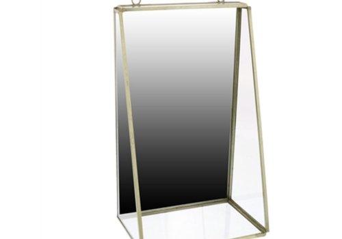 Monroe Mirror with Shelf in Brass - Medium