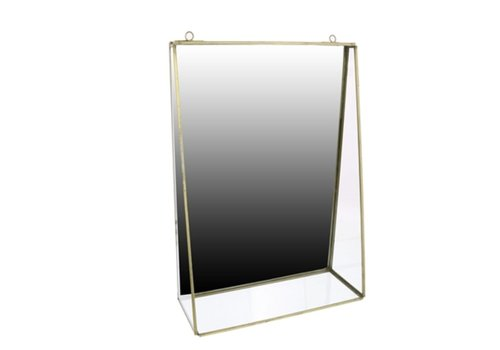Monroe Mirror with Shelf in Brass - Large