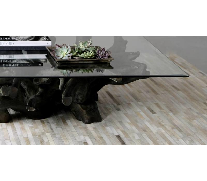 Jakarta Gray Large Wood & Glass Cocktail Table