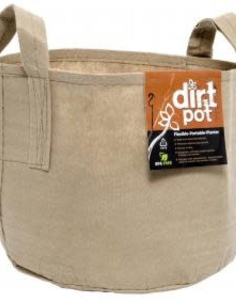 Hydrofarm Dirt Pot Tan 5 Gal w/Handle Fabric