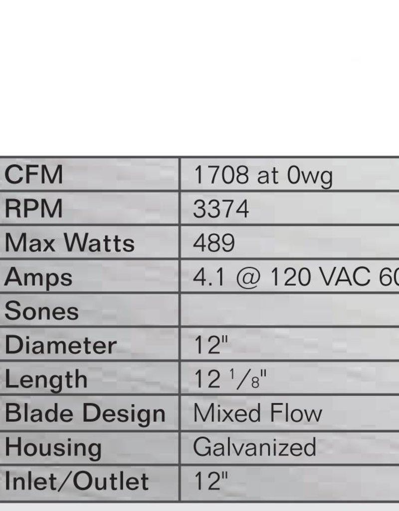 """Can Filter Group Can 12"""" Max-Fan, 1709 CFM"""