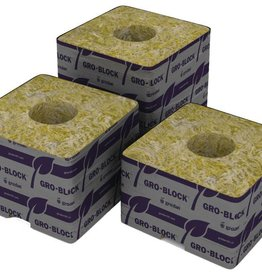 "Grodan Grodan Rockwool Delta 4  Block, 3""x3""x2.5"" with hole 8 pack"