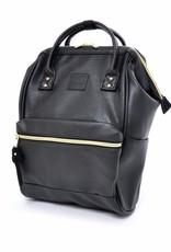 Anello Anello Hinged Clasp Small Vegan Leather | Black