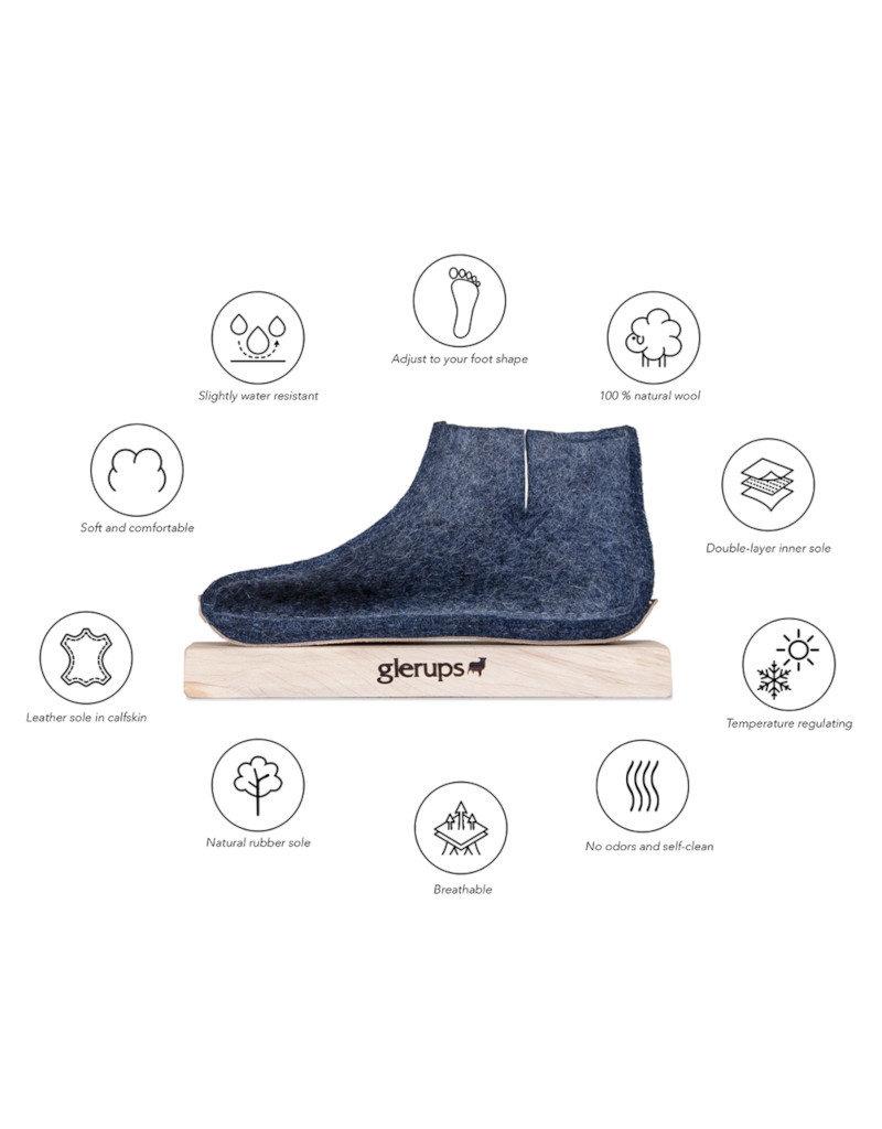 Glerups Glerups Open Heel Leather Sole | Grey