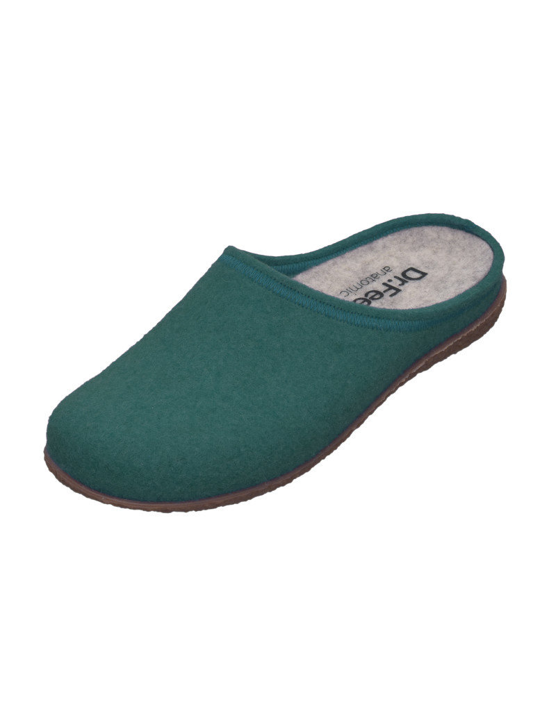 DR.FEET Dr. Feet Women Rubber Sole natural wool Slippers Deep Teal