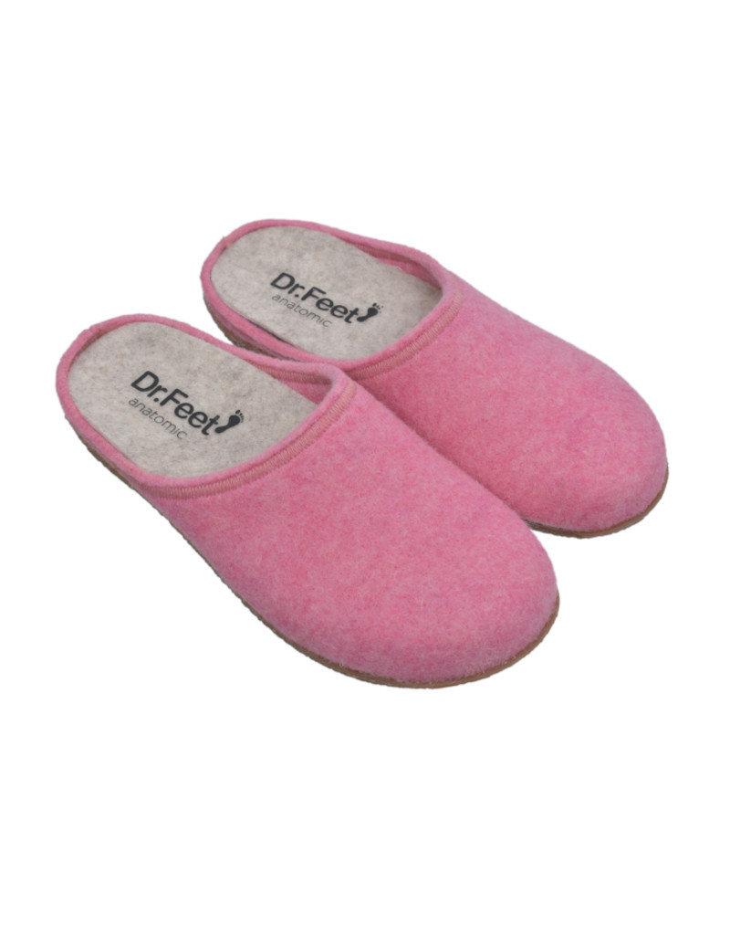 DR.FEET Dr. Feet Women Rubber Sole natural wool Slippers Pink