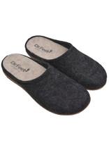 DR.FEET Dr. Feet  Pantoufle en laine naturelle semelle caoutchouc Noir
