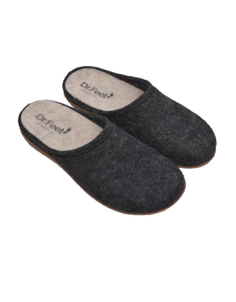 DR.FEET Dr. Feet Women Rubber Sole natural wool Slippers Black