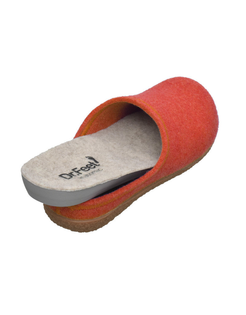 DR.FEET Dr. Feet Women Rubber Sole natural wool Slippers Orange