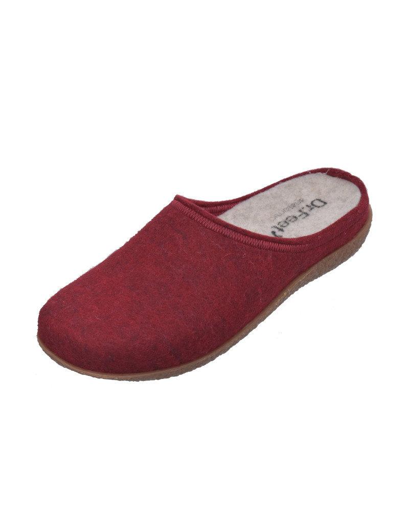 DR.FEET Dr. Feet Women Rubber Sole natural wool Slippers Burgundy