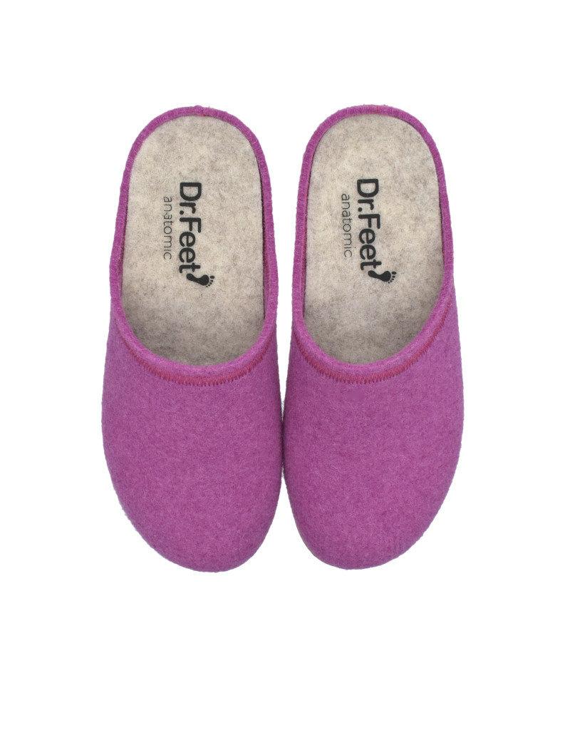DR.FEET Dr. Feet  Pantoufle femme en laine naturelle semelle caoutchouc Violet