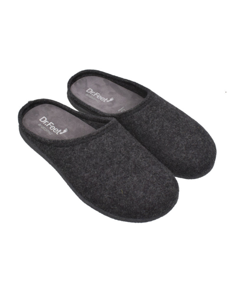 DR.FEET Dr. Feet Men Rubber Sole natural wool Slippers Grey