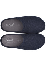 DR.FEET Dr. Feet Men Rubber Sole natural wool Slippers Navy