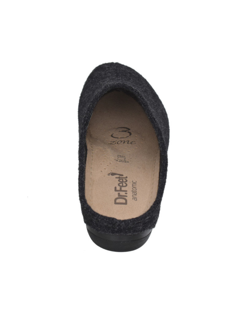 DR.FEET Dr. Feet Women Rubber Sole natural wool clog Slippers Charcoal