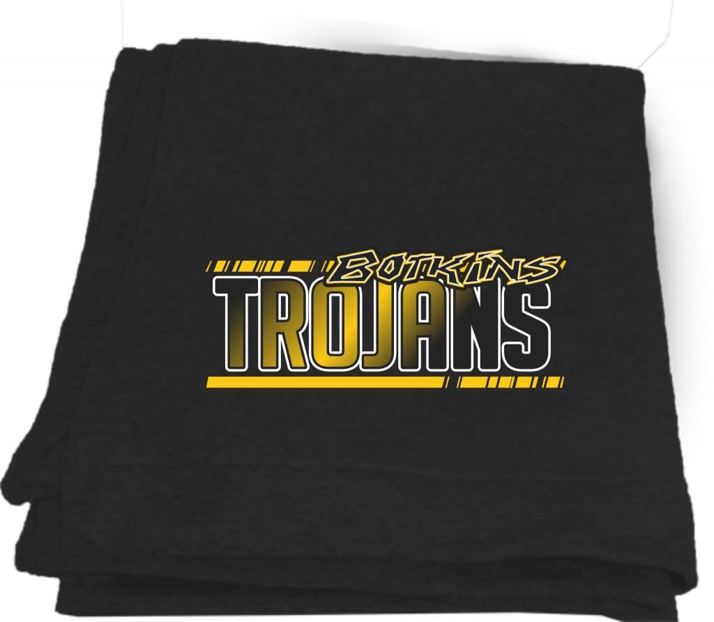 B167 - 12900 Gildan sweatshirt blanket - black  - screen print