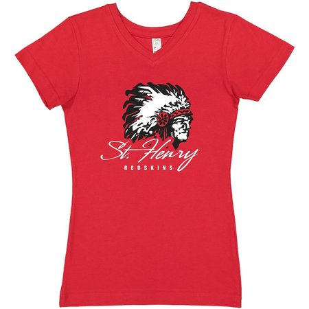 H471 - 2607 - Girls Vneck Red T