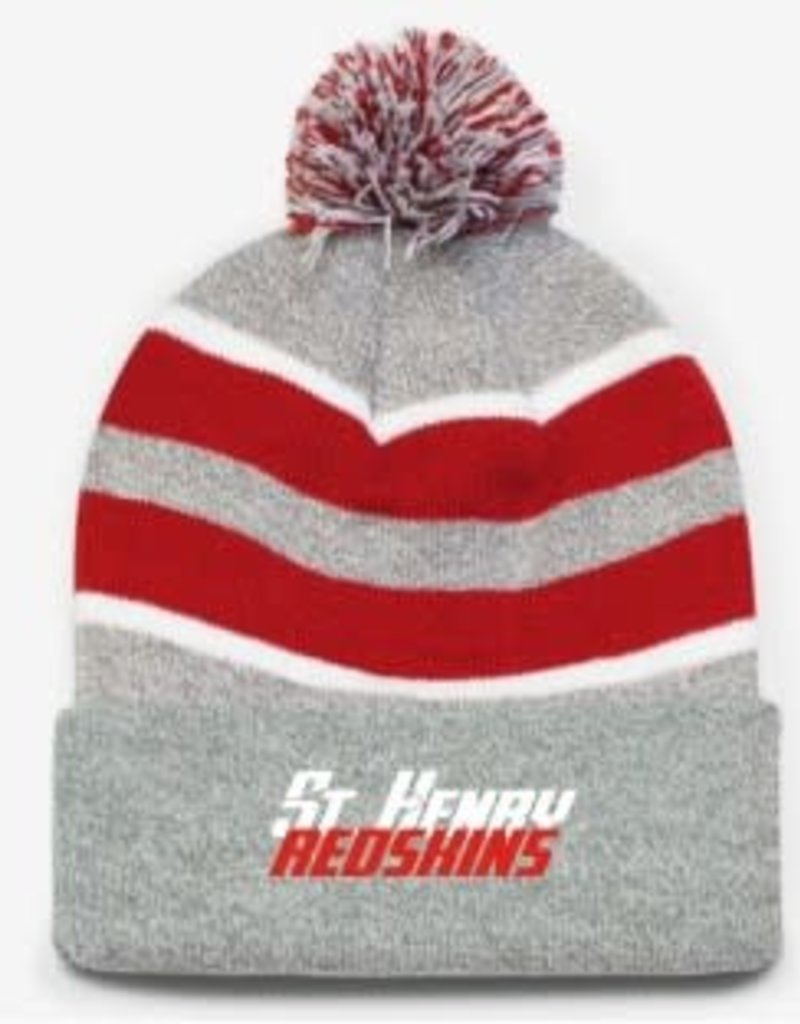 H492 - 641 pom pom cuffed beanie - heather/red/white