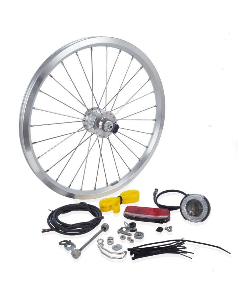 Brompton Brompton Hub dynamo set: front wheel, cables, fittings, front + rear lamp - (SV8) Silver