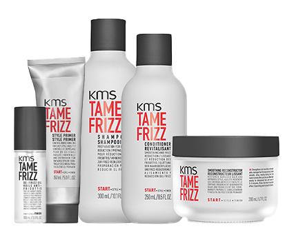 Gamme de soins capillaires anti-frisottis KMS TameFRizz