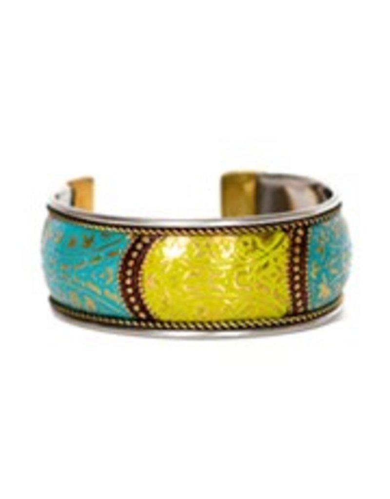 Floral Brass Cuff (Blue & Green)