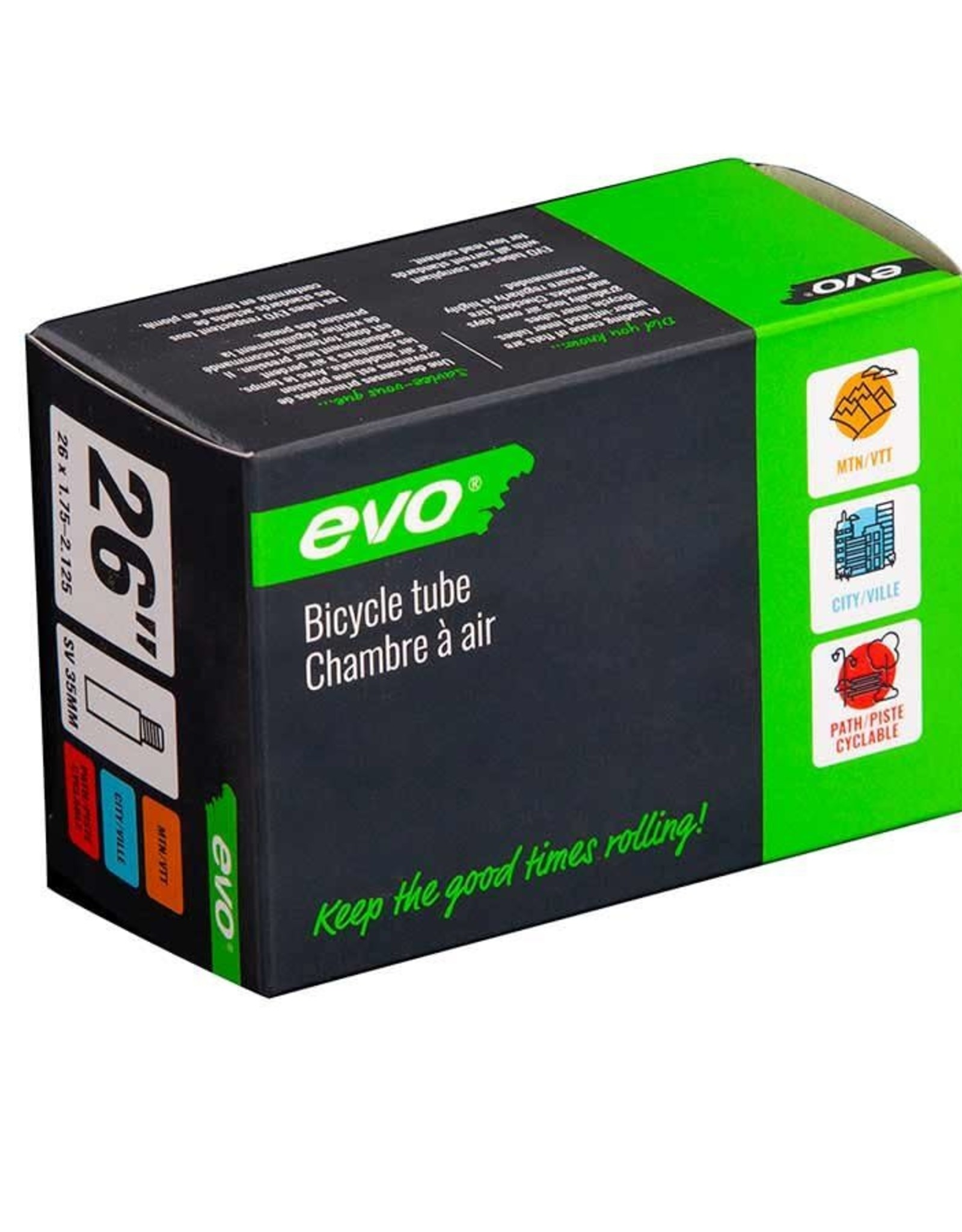 EVO EVO, SV, Chambre a air, Schrader, Longueur: 35mm, 26'', 1.75-2.125