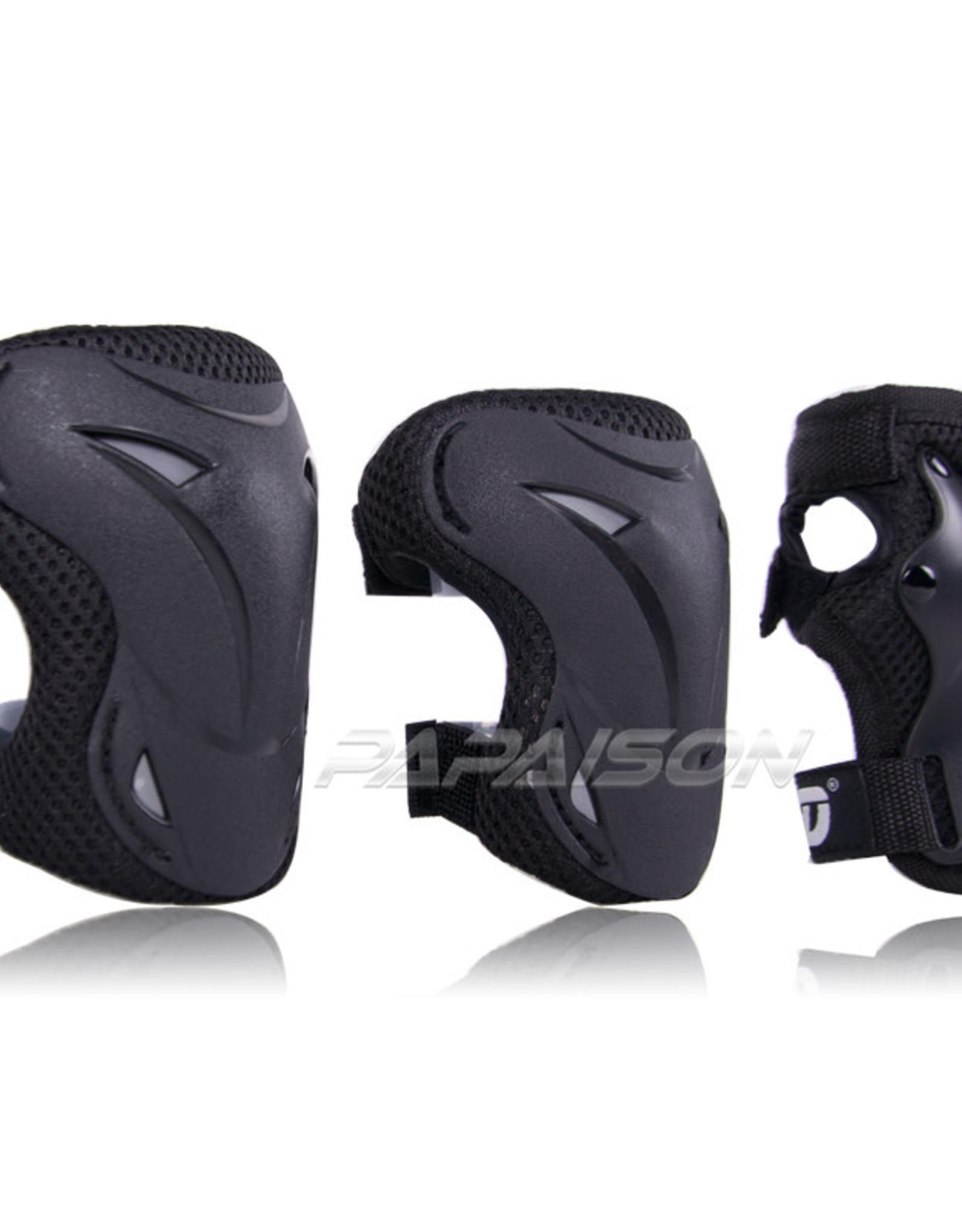Papaison Protection2 Patin à roues JR  (L) ensemble de 3 Noir