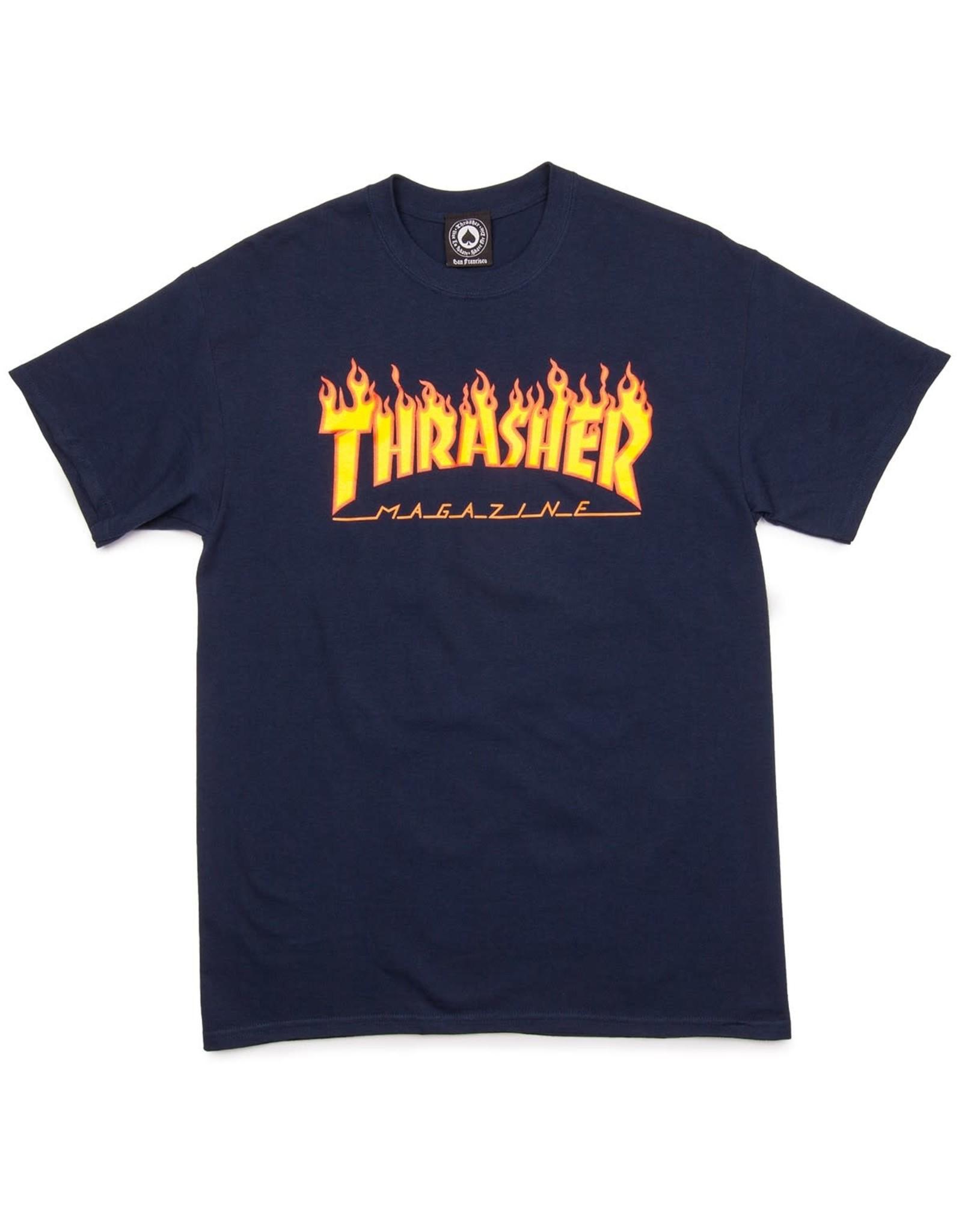 Thrasher Thrasher Tee Mens Flame Logo S/S (Navy Blue)