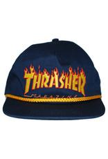 Thrasher Thrasher Hat Flame Rope Snapback (Navy/Yellow)