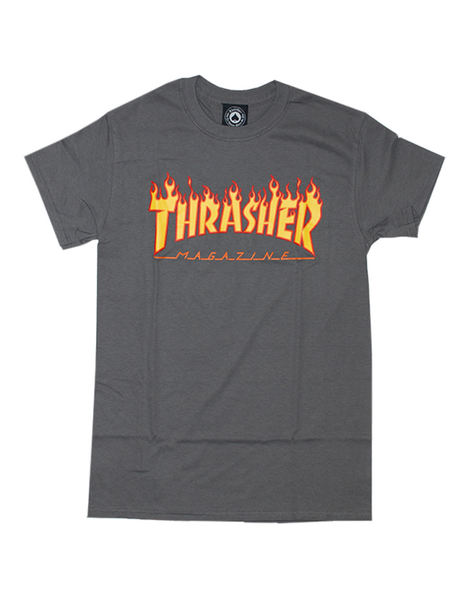Thrasher Thrasher Tee Mens Flame Logo S/S (Charcoal Grey)