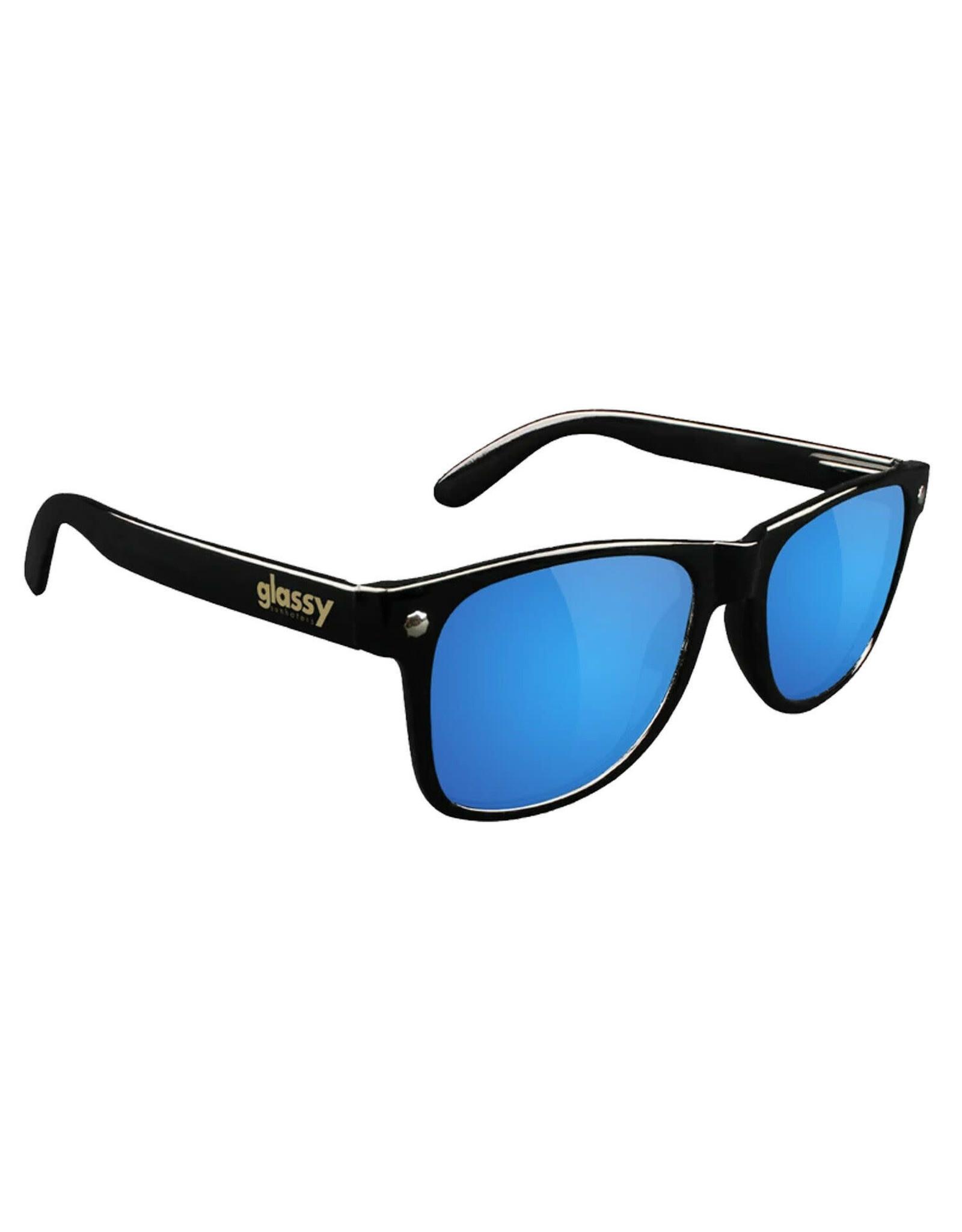 Glassy Sunglasses Glassy Sunglasses Leonard (Black Gloss/Blue Mirror Polarized Lens)
