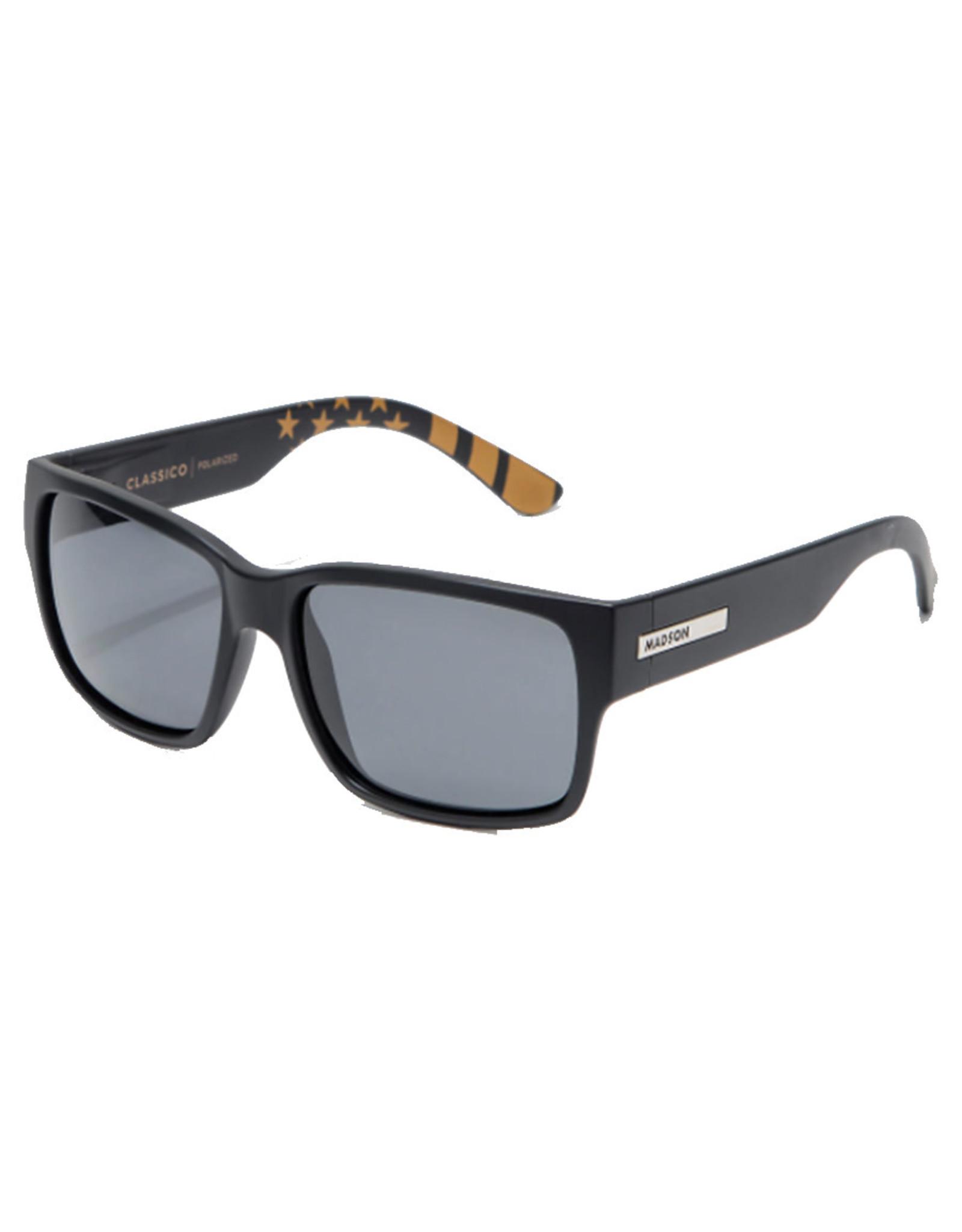 Madson Madson Sunglasses Classico (Black Matte Flag/Grey Polarized Lens)