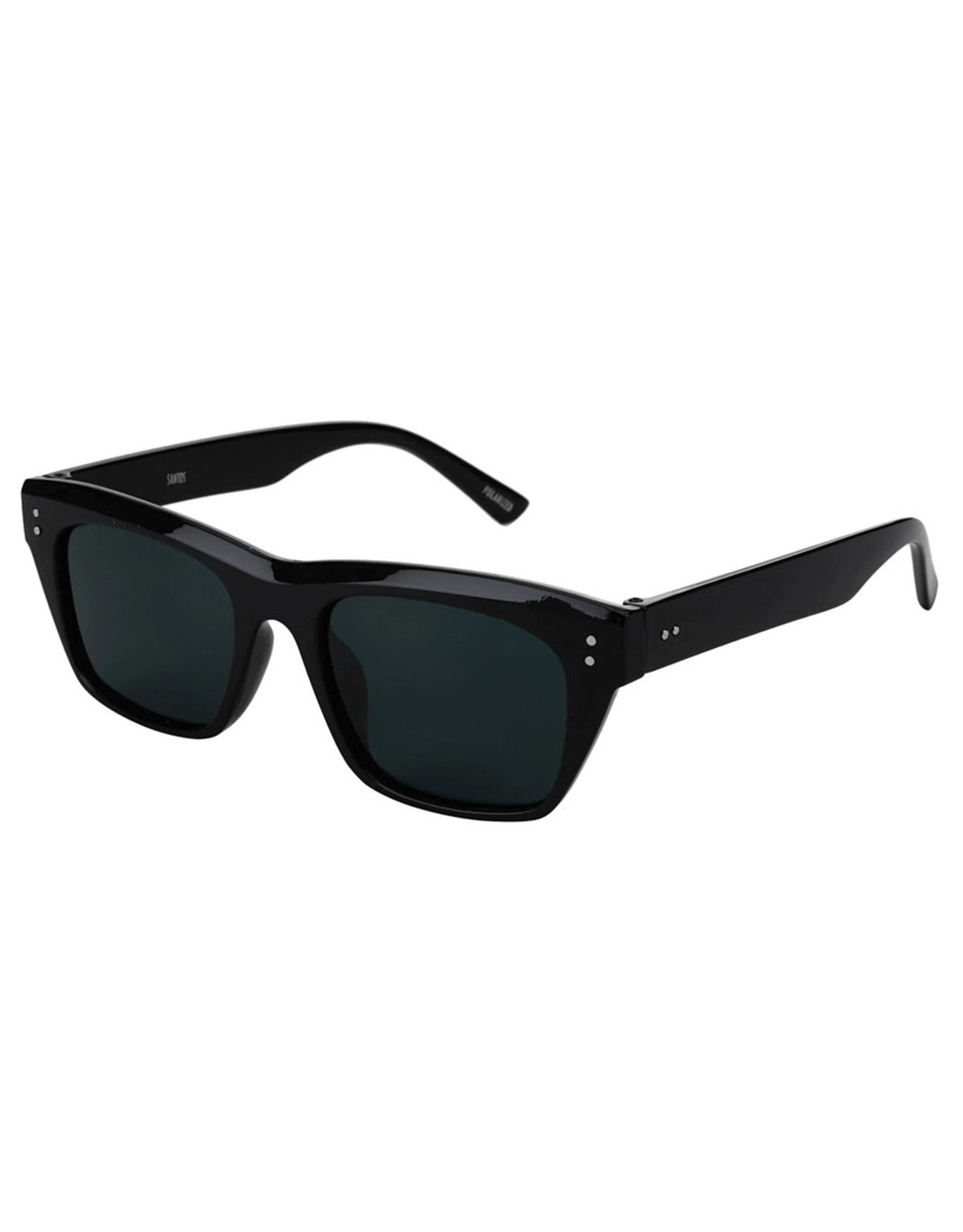 Glassy Sunglasses Glassy Sunglasses Santos (Black Gloss/Grey Polarized Lens)