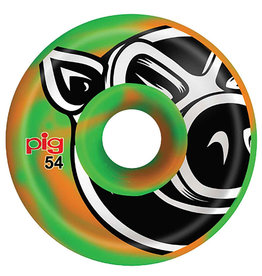 Pig Pig Wheels Head C-Line Green/Orange Swirl (54mm)