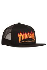 Thrasher Thrasher Hat Flame Logo Trucker Snapback (Black)