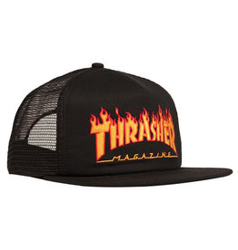 Thrasher Thrasher Hat Flame Trucker Snapback (Black)