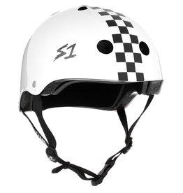 S-One S-One Helmet The Adult Lifer (Gloss White/Checker/Black Straps)