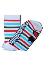 Toy Machine Toy Machine Socks Monster Face Mini Stripes Crew (Coral)