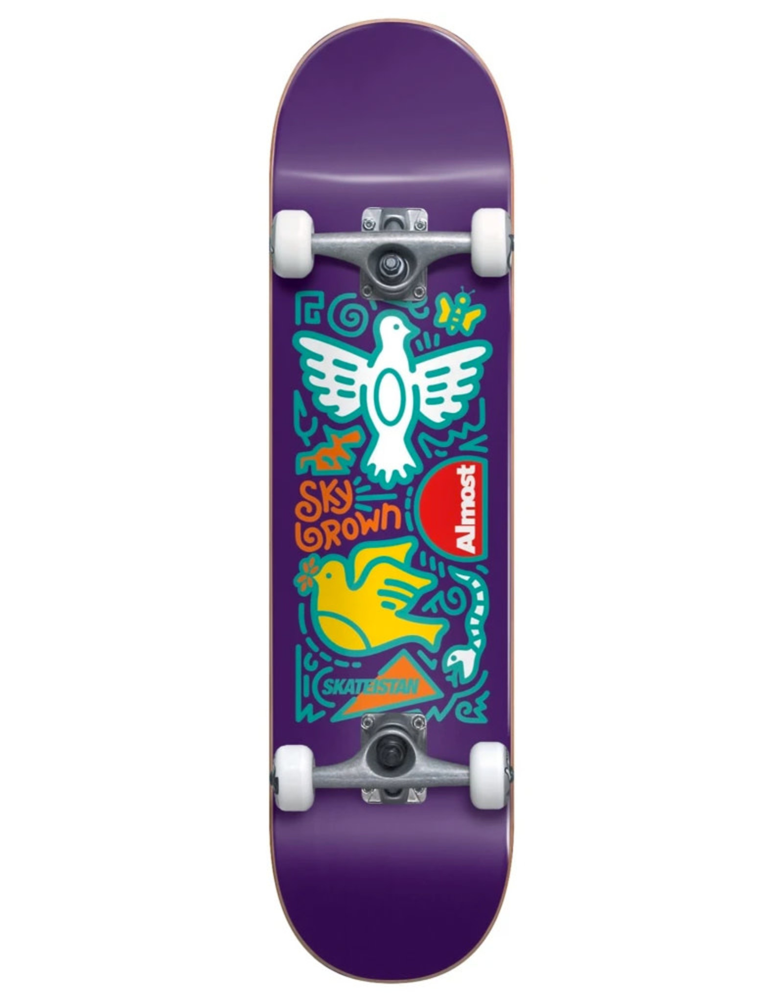 Almost Almost Complete Skateistan Sky Brown Doodle First Push Purple (7.875)