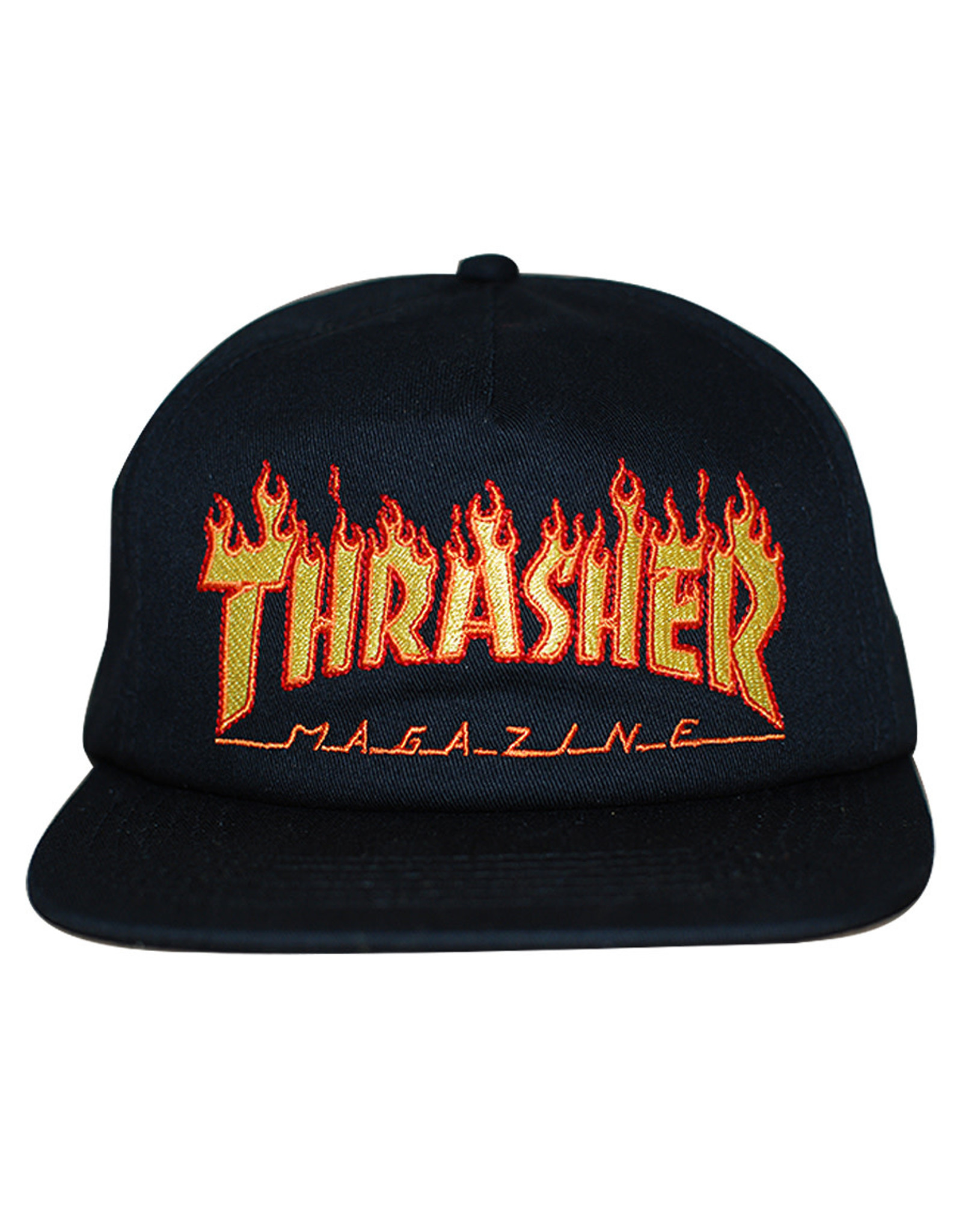 Thrasher Thrasher Hat Flame Embroidered Logo Snapback (Black)