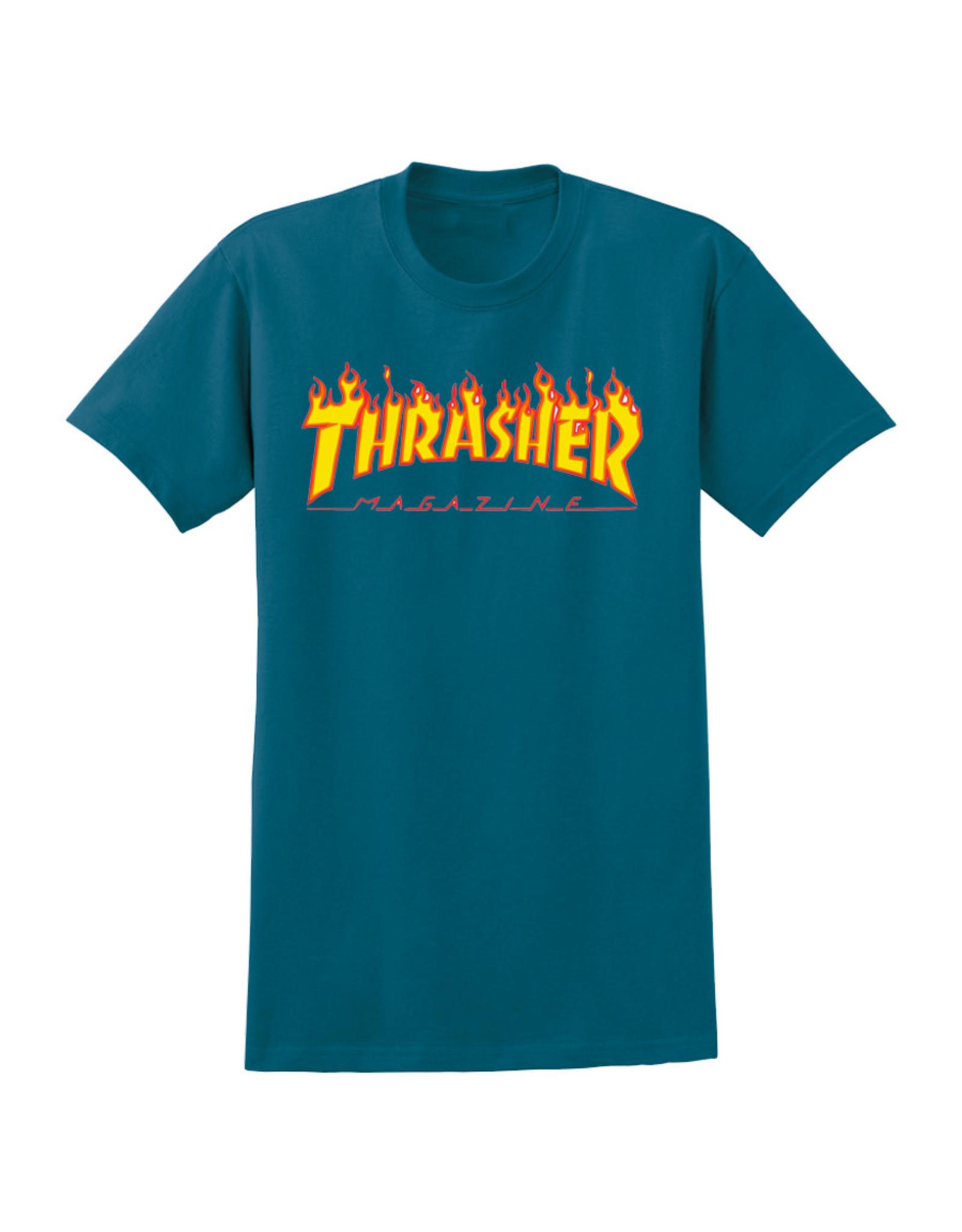 Thrasher Thrasher Tee Mens Flame Logo S/S (Galapagos Blue)