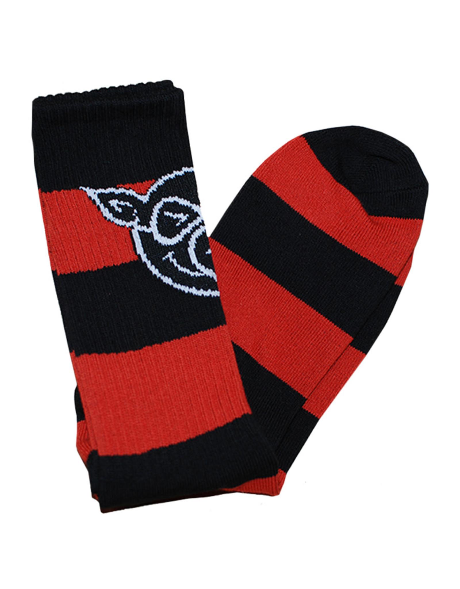 Pig Pig Socks Pig Head Striped Tall (Black/Red)