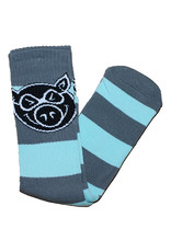 Pig Pig Socks Pig Head Striped Tall (Light Blue/Grey)