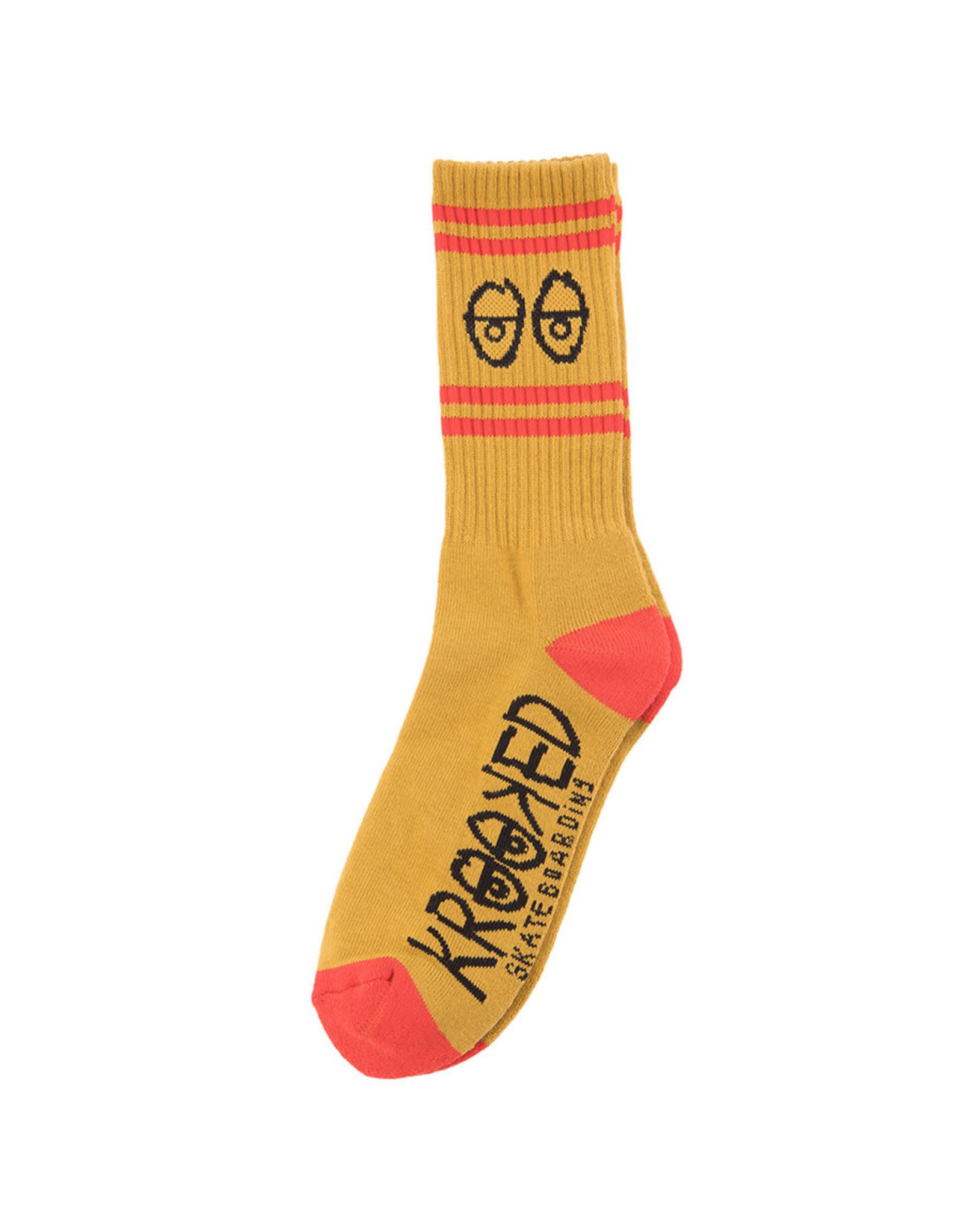 Krooked Krooked Socks Eyes Crew (Gold/Red/Black)